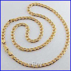 UK Hallmarked Solid 9ct Gold Classic Bevelled Curb Chain 18.5 RRP £470 ZU25