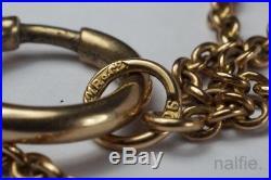 UNUSUAL ANTIQUE 9ct GOLD CLOVER / SHAMROCK MUFF CHAIN NECKLACE by MURRLE BENNETT