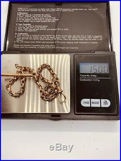 Unusual 9ct Gold Single Albert Chain With T-bar & Lobster Clasp