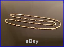 Unusual Vintage 9ct Gold Fancy Box Chain Link Necklace 24 #267