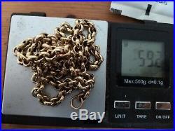 VERY HEAVY (59.2 GRAM) FULLY HALLMARKED SOLID 9ct GOLD BELCHER CHAIN (20 INCH)