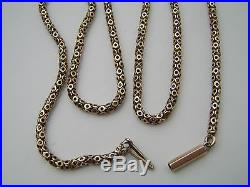 VERY OLD ANTIQUE 9CT GOLD CHAIN NECKLACE FANCY BOX LINK UNUSUAL STUNNING DESIGN