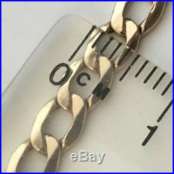 VINTAGE 375 9CT GOLD FLAT CURB LINK CHAIN NECKLACE 20.5 inches