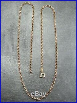 VINTAGE 9ct GOLD BELCHER LINK NECKLACE CHAIN 18 1/2 inch 1986