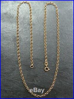 VINTAGE 9ct GOLD BELCHER LINK NECKLACE CHAIN 18 inch 1983