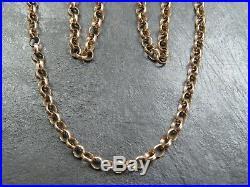 VINTAGE 9ct GOLD BELCHER LINK NECKLACE CHAIN 24 inch C. 1980