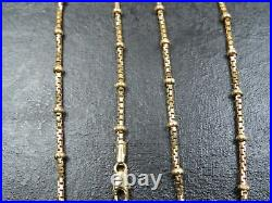VINTAGE 9ct GOLD BOX & BALL LINK NECKLACE CHAIN 17 inch C. 2000