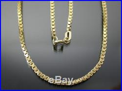 VINTAGE 9ct GOLD BOX LINK NECKLACE CHAIN 20 inch C. 1980