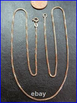 VINTAGE 9ct GOLD BOX LINK NECKLACE CHAIN 23 inch 1978