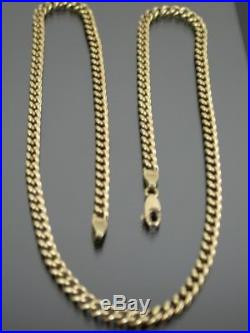 VINTAGE 9ct GOLD CURB LINK NECKLACE CHAIN 21 inch C. 1980