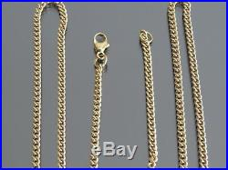 VINTAGE 9ct GOLD CURB LINK NECKLACE CHAIN 22 inch C. 1980