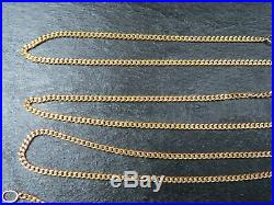 VINTAGE 9ct GOLD CURB LINK NECKLACE CHAIN 23 inch C. 1990