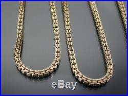 VINTAGE 9ct GOLD DOUBLE BOX LINK NECKLACE CHAIN 31 inch C. 1980