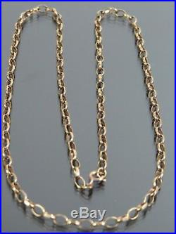 VINTAGE 9ct GOLD FACETED BELCHER LINK NECKLACE CHAIN 18 1/2 inch C. 1980