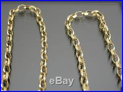 VINTAGE 9ct GOLD FACETED BELCHER LINK NECKLACE CHAIN 24 inch