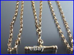 VINTAGE 9ct GOLD FACETED BELCHER LINK WATCH CHAIN NECKLACE 20 inch C. 1980