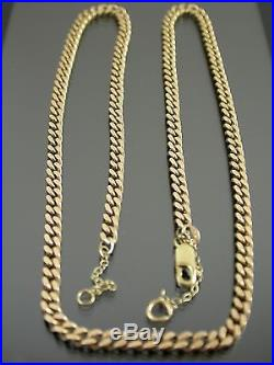 VINTAGE 9ct GOLD FACETED FLAT CURB NECKLACE CHAIN 21 inch C. 1970