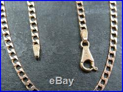 VINTAGE 9ct GOLD FACETED SQUARE CURB LINK NECKLACE CHAIN 22 inch 1982 UNOARRE