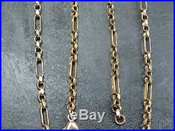 VINTAGE 9ct GOLD FACTED BELCHER & BATON LINK NECKLACE CHAIN 18 inch C. 1990