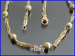 VINTAGE 9ct GOLD FANCY BATON & FLUTED BALL LINK NECKLACE CHAIN 20 inch C. 1980