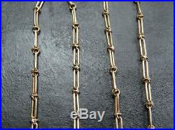 VINTAGE 9ct GOLD FANCY BATON LINK NECKLACE CHAIN 17 inch C. 1980