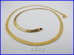 VINTAGE 9ct GOLD FANCY HERRINGBONE LINK NECKLACE CHAIN 18 inch C. 1980