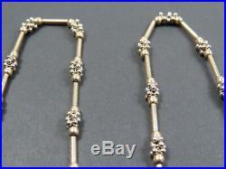 VINTAGE 9ct GOLD FANCY POPCORN & BATON LINK NECKLACE CHAIN 19 inch C. 1980
