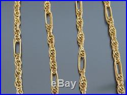 VINTAGE 9ct GOLD FANCY PRINCE OF WALES & BATON LINK NECKLACE CHAIN 20 inch 1993