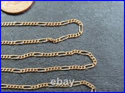 VINTAGE 9ct GOLD FIGARO LINK NECKLACE CHAIN 16 inch 1988