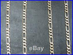 VINTAGE 9ct GOLD FIGARO LINK NECKLACE CHAIN 18 inch C. 1990