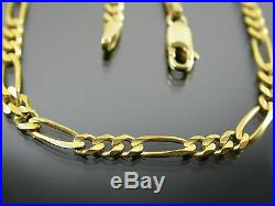 VINTAGE 9ct GOLD FIGARO LINK NECKLACE CHAIN 20 inch C. 1980