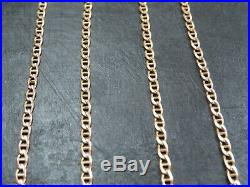 VINTAGE 9ct GOLD FLAT ANCHOR LINK NECKLACE CHAIN 24 inch 1990