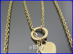 VINTAGE 9ct GOLD FLAT CABLE LINK NECKLACE CHAIN 18 inch T-BAR HEART PENDANT