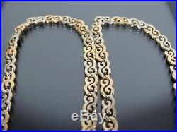 VINTAGE 9ct GOLD FLAT CELTIC SCROLL LINK NECKLACE CHAIN 18 inch C. 1990