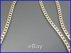 VINTAGE 9ct GOLD FLAT CURB LINK NECKLACE CHAIN 18 inch 1978