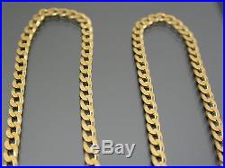 VINTAGE 9ct GOLD FLAT CURB LINK NECKLACE CHAIN 19 inch 1989