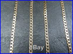 VINTAGE 9ct GOLD FLAT CURB LINK NECKLACE CHAIN 20 1/2 inch C. 1990