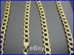 VINTAGE 9ct GOLD FLAT CURB LINK NECKLACE CHAIN 20 inch C. 1990