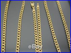VINTAGE 9ct GOLD FLAT CURB LINK NECKLACE CHAIN 26 inch C. 1980