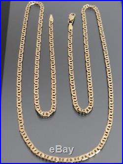 VINTAGE 9ct GOLD FLAT MARINE LINK NECKLACE CHAIN 27 1/2 inch C. 1980