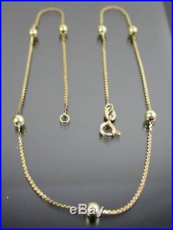 VINTAGE 9ct GOLD FLAT S & BALL LINK NECKLACE CHAIN 15 1/2 inch C. 1980