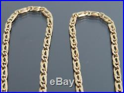 VINTAGE 9ct GOLD FLAT SCROLL LINK NECKLACE CHAIN 18 inch 1989