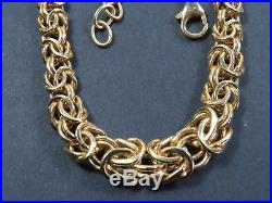 VINTAGE 9ct GOLD GRADUATED BYZANTINE LINK NECKLACE CHAIN 20 inch C. 2000