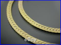 VINTAGE 9ct GOLD HERRINGBONE LINK NECKLACE CHAIN 16 inch C. 1980