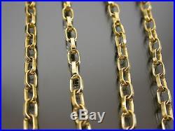 VINTAGE 9ct GOLD LONG BELCHER LINK NECKLACE CHAIN 18 inch