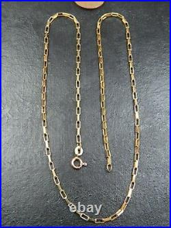 VINTAGE 9ct GOLD LONG BOX LINK NECKLACE CHAIN 18 inch 1983