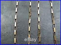 VINTAGE 9ct GOLD LONG BOX LINK NECKLACE CHAIN 20 inch C. 1990