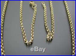 VINTAGE 9ct GOLD ROLO LINK NECKLACE CHAIN 21 inch C. 1980