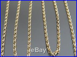 VINTAGE 9ct GOLD ROLO LINK NECKLACE CHAIN 24 inch C. 1980