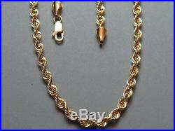 VINTAGE 9ct GOLD ROPE LINK NECKLACE CHAIN 20 inch C. 2000